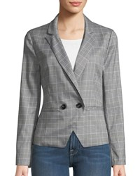 Cupcakes And Cashmere Belmont Plaid Double Breasted Blazer Black