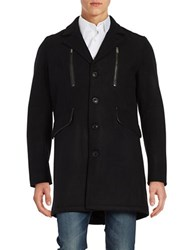 Karl Lagerfeld Wool Blend Walker Coat Black