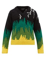 Prada Lightning Embroidered Wool Sweater Black Green