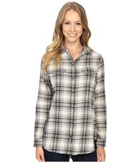 Woolrich Malila Peak Flannel Shirt Cream Hunt Plaid Women's Long Sleeve Button Up Multi