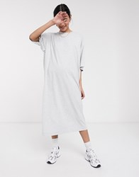 Weekday Ines Organic Cotton Dress In Grey Melange