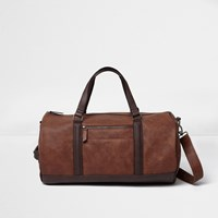 River Island Mens Brown Soft Faux Leather Holdall Bag
