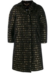 Moschino Roman Embroidered Button Up Coat Black