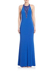 Mignon Beaded Halter Gown Royal