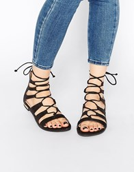 Truffle Collection Gladiator Flat Sandals Black Suede