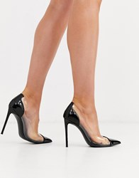 Steve Madden Malibu Clear Heeled Shoes In Black