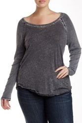 Able Long Sleeve Raglan Burnout Tee Plus Size Gray