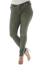 Slink Jeans Plus Size Women's Ripped Knee Stretch Skinny Olive