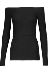 Bailey 44 Off The Shoulder Ribbed Stretch Jersey Top Black