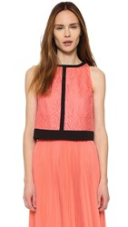 J. Mendel Lace Crop Top Coral