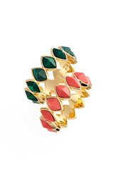Women's Rachel Zoe 'Prestley' Stackable Rings Gold Green Jade Coral Set Of 2