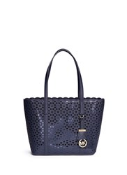 Michael Kors 'Desi' Small Floral Perforated Leather Travel Tote Blue