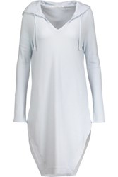 Yummie Tummie By Heather Thomson Waffle Knit Stretch Cotton And Modal Blend Hooded Nightshirt Sky Blue