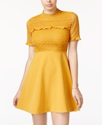 Xoxo Juniors' Mock Neck Fit And Flare Dress Gold