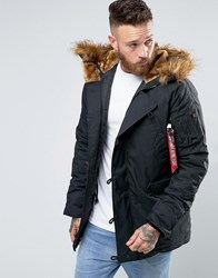 Alpha Industries Explorer Parka With Faux Fur Trim In Regular Fit Black Bk1 Black 1
