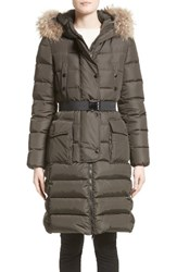 Moncler Women's 'Khloe' Water Resistant Nylon Down Puffer Parka With Removable Genuine Fox Fur Trim Olive