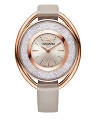 Swarovski Crystalline Pave And Stainless Steel Leather Strap Watch Grey