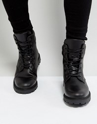 Zign Leather Chunky Lace Up Boots Black