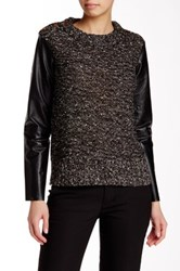 Tracy Reese Leather Sleeve Metallic Knit Pullover Black