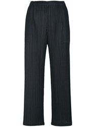 Issey Miyake Pleats Please By Cropped Pleated Trousers Women Polyester 2 Blue