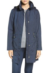 Cole Haan Signature Women's Back Bow Packable Hooded Raincoat Indigo