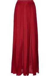 Missoni Pleated Metallic Stretch Knit Maxi Skirt Claret
