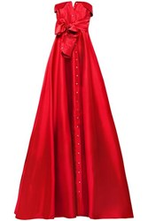 Alexis Mabille Bow Detailed Satin Twill Gown Red