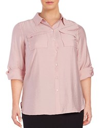 Vince Camuto Plus Point Collar Button Front Top Rosey Flush