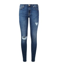 7 For All Mankind B Air Skinny Distressed Jeans Female Blue