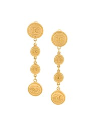 Chanel Vintage Coin Drop Clip On Earrings Metallic