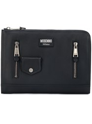 Moschino Zip Detail Pouch Black
