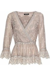 Love Sam Wrap Effect Broderie Anglaise Cotton Gauze Peplum Top Taupe