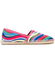Red Valentino Rainbow Wave Blue Espadrilles Women Cotton Leather Rubber 37
