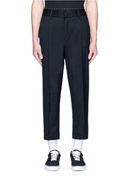 The World Is Your Oyster Raw Edge Elastic Back Cropped Twill Pants Black