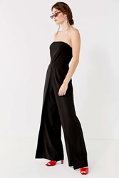Urban Outfitters Uo Strapless Pleated Jumpsuit Black