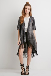 Forever 21 Embroidered Tribal Print Cardigan Charcoal Multi