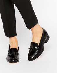 Park Lane Tassle Leather Loafers Black Hi Shine
