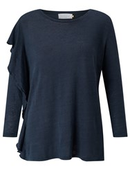 John Lewis Collection Weekend By Asymmetric Frill Top Navy