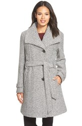 Women's Gallery Belted Long Tweed Coat Black White