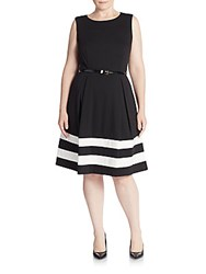 Calvin Klein Plus Size Striped Fit And Flare Dress Black Ivory
