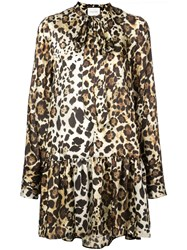 Alexis Lydia Leopard Print Dress Brown