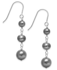 Macy's Black Cultured Freshwater Pearl 5 8Mm Graduated Drop Earrings In Sterling Silver