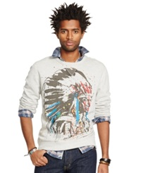 Denim And Supply Ralph Lauren French Terry Crew Neck Graphic Sweatshirt Granite Heather