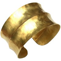 Dower And Hall Nomad Vermeil Double Concave Hammered Cuff Gold