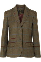 James Purdey And Sons Alcantara Trimmed Checked Wool Tweed Blazer Green