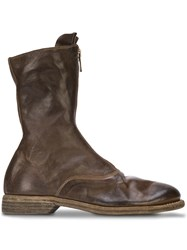 Guidi Front Zip Boots Brown