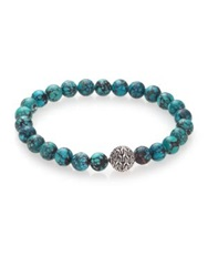 John Hardy Batu Classic Chain Turquoise And Sterling Silver Bead Bracelet
