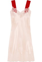 Givenchy Lace Trimmed Silk Satin Dress Blush