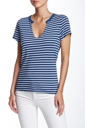 Pam And Gela Lace Up Back Stripe Tee Blue
