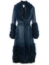 Rosie Assoulin Ruffle Trimmed Coat Blue